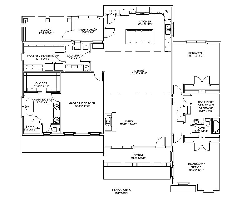 Floor plan for the Apothecary  I 2517 sq ft 3 bed 2 bath homestead house plan.
