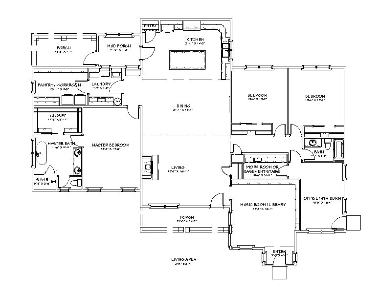 floor plan for the Apothecary II 2981 sq ft 4 bed 2 bath plus study homestead house plan