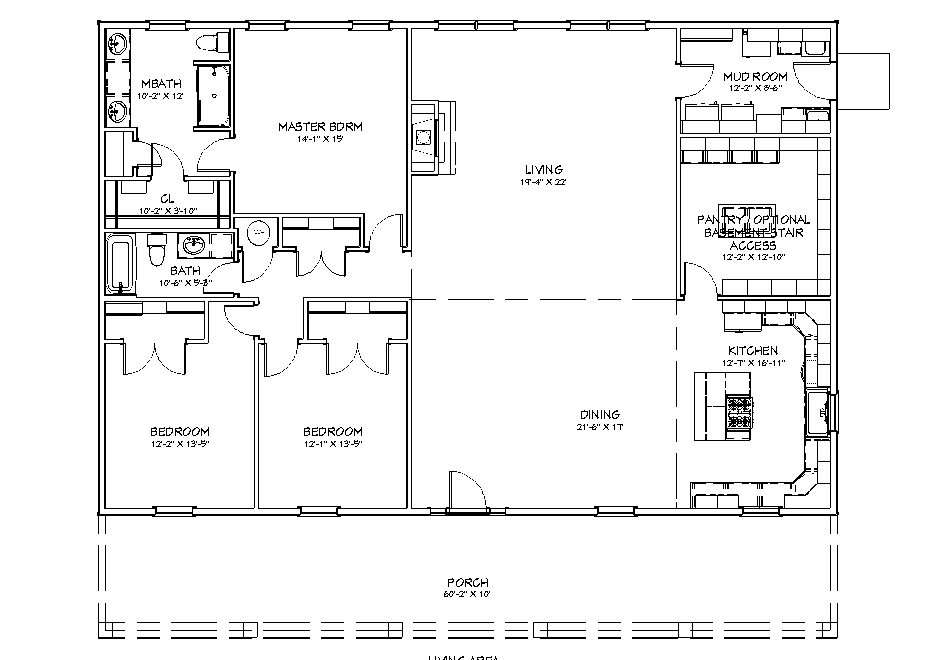 floor plan for the 2400 sq ft 3 bed 2 bath homesteader I house plan