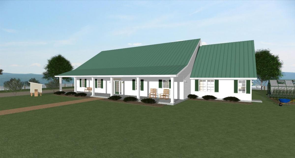 Homesteader II house plan Front side elevation
