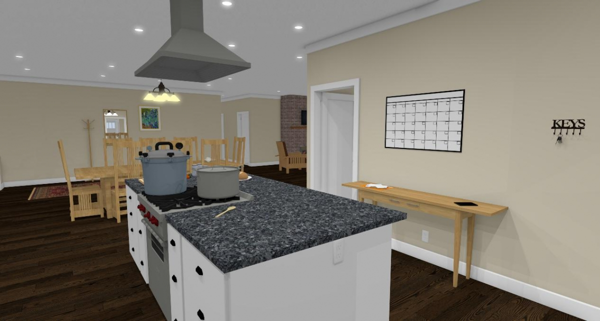 Homesteader II kitchen to dining room view