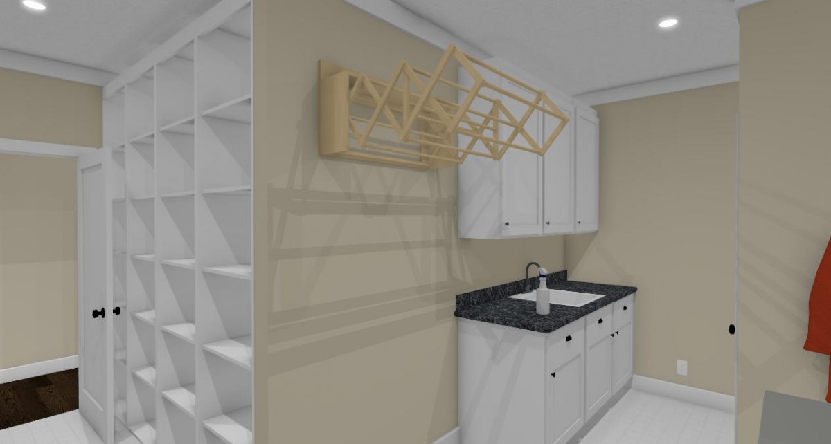 Homesteader II laundry room with drying rack view