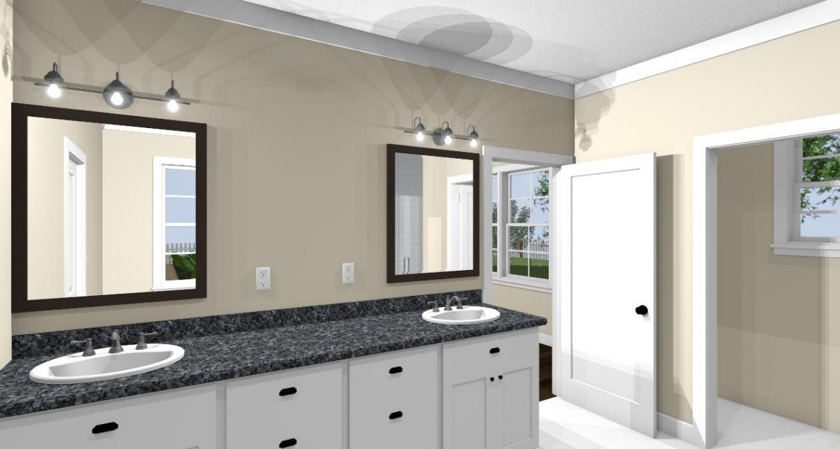 Homesteader II master bathroom sinks view