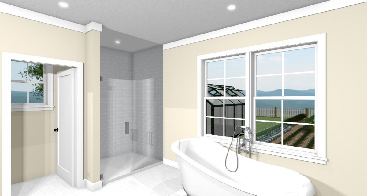Homesteader II master bathroom tub and shower view
