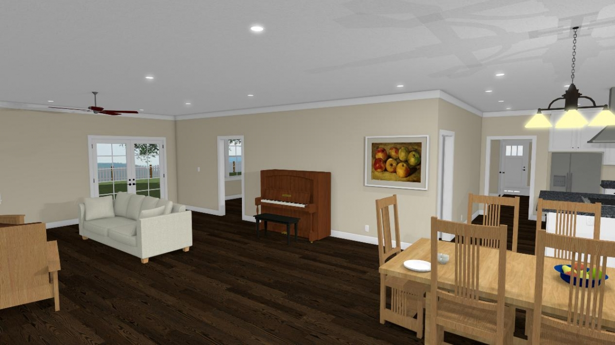 homesteader II house design dining, living room, and kitchen view