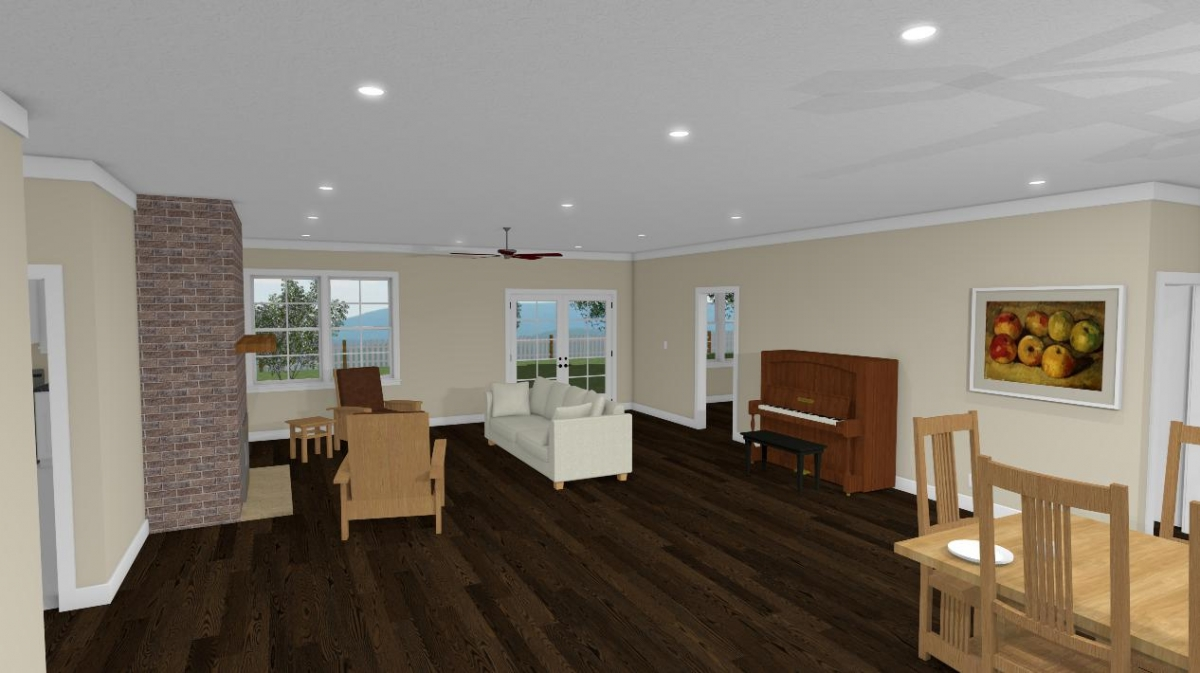 Homesteader II living room and fireplace view