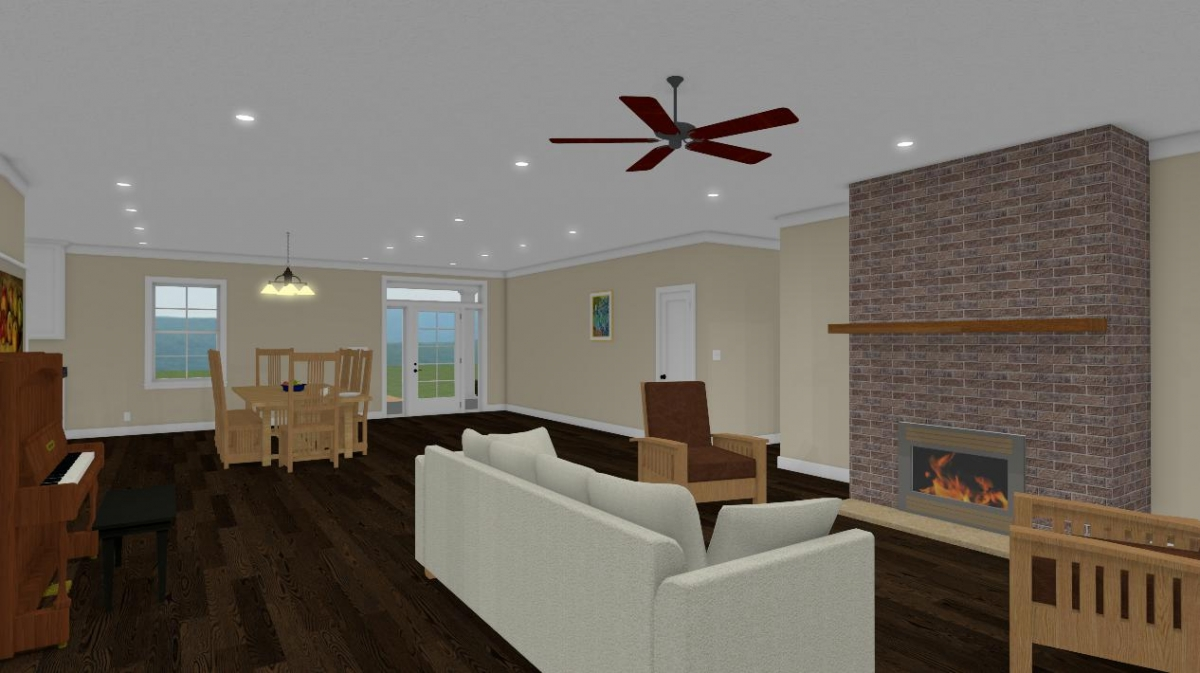 homesteader II living room to entry way view