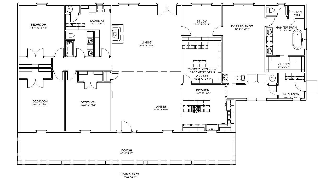 Floor plan for the homesteader II 4 bedroom 2.5 bath 3380 square foot house plan.
