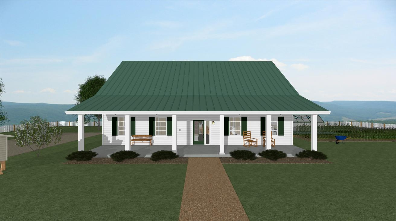 Homesteader cottage house plan front porch view