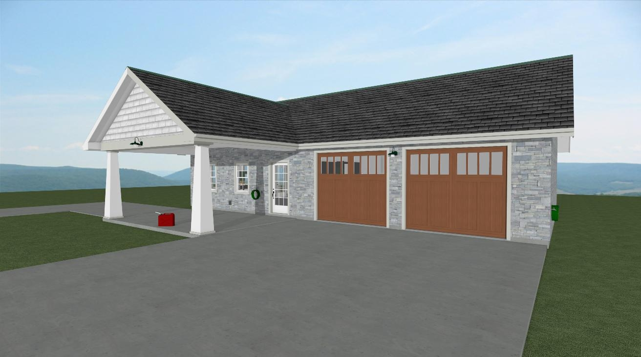Classic station garage front in apothecary collection trim and colors