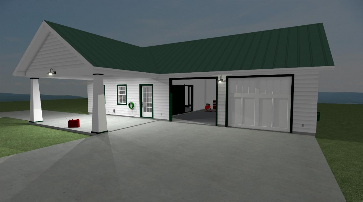Classic Station Garage with Attached Workshop at night view