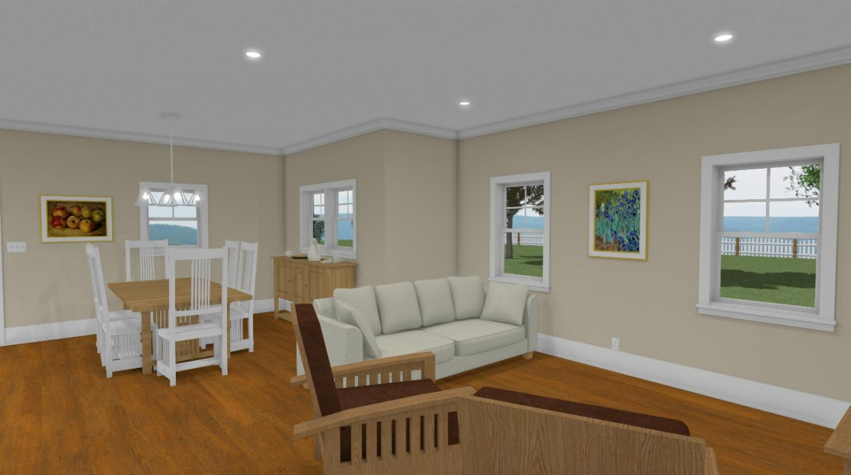 the summer cottage homestead house plan dining and living room