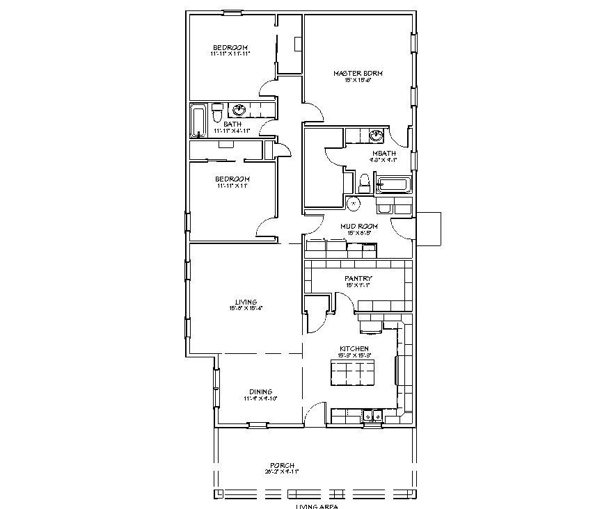 The summer cottage 3 bedroom 2 bathroom 1817 sq ft floor plan