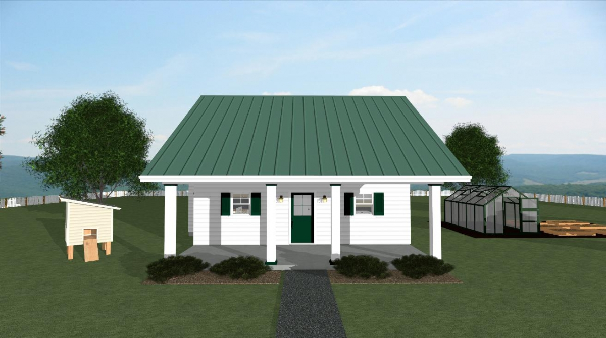 The summer cottage house plan front view