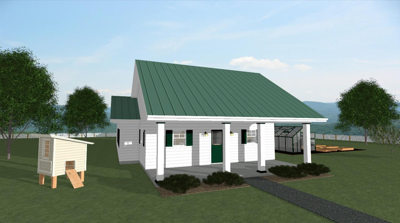 The summer cottage house plan front size view