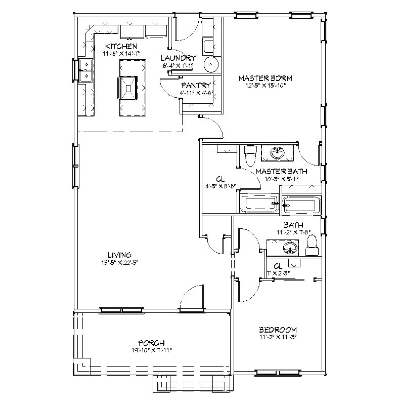 Craftsman Cottage 2 bed, 2 bath, 1312 square feet Floor Plan