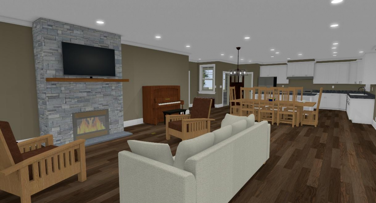 Apothecary I living room and fireplace