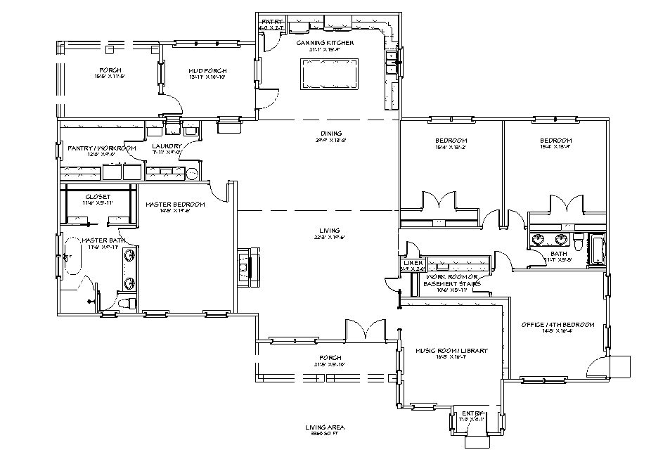 Floor plan for the Apothecary III 3360 sq ft 4 bed 2 bath plus study homestead house plan.