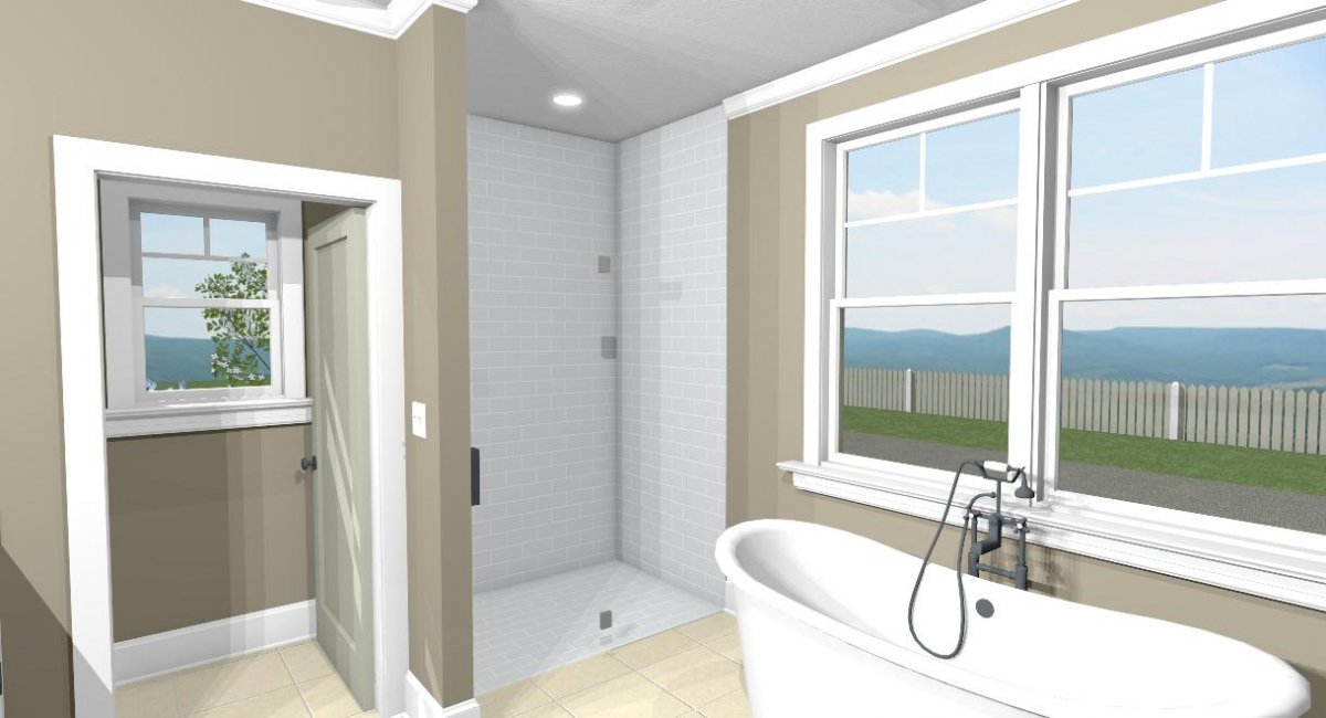 Apothecary I master bath tub and shower view