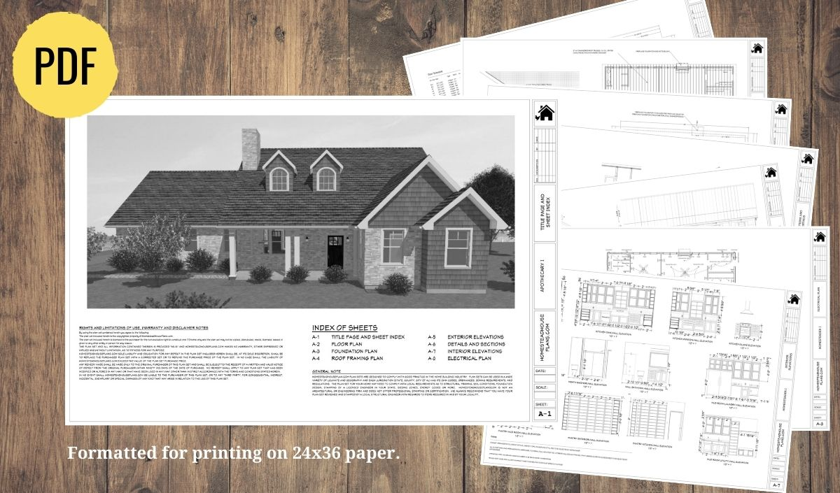house plan set preview for the Apothecary I homestead floor plan