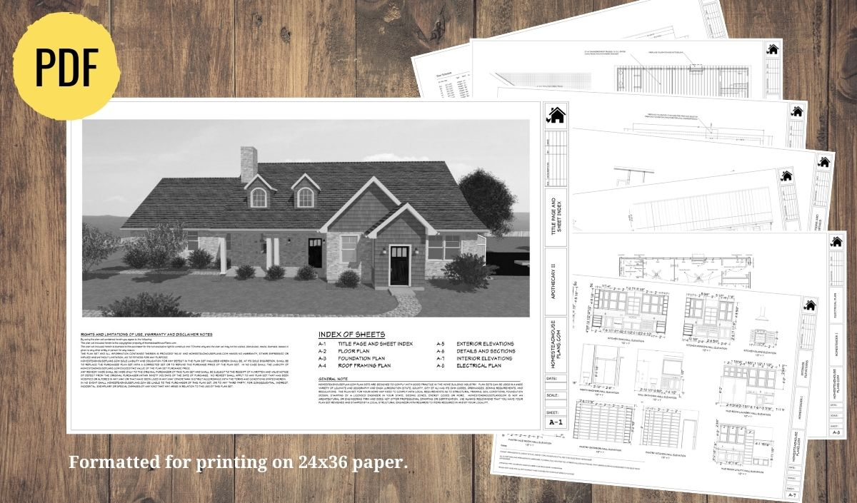 plan set preview for the Apothecary II homestead house plan.