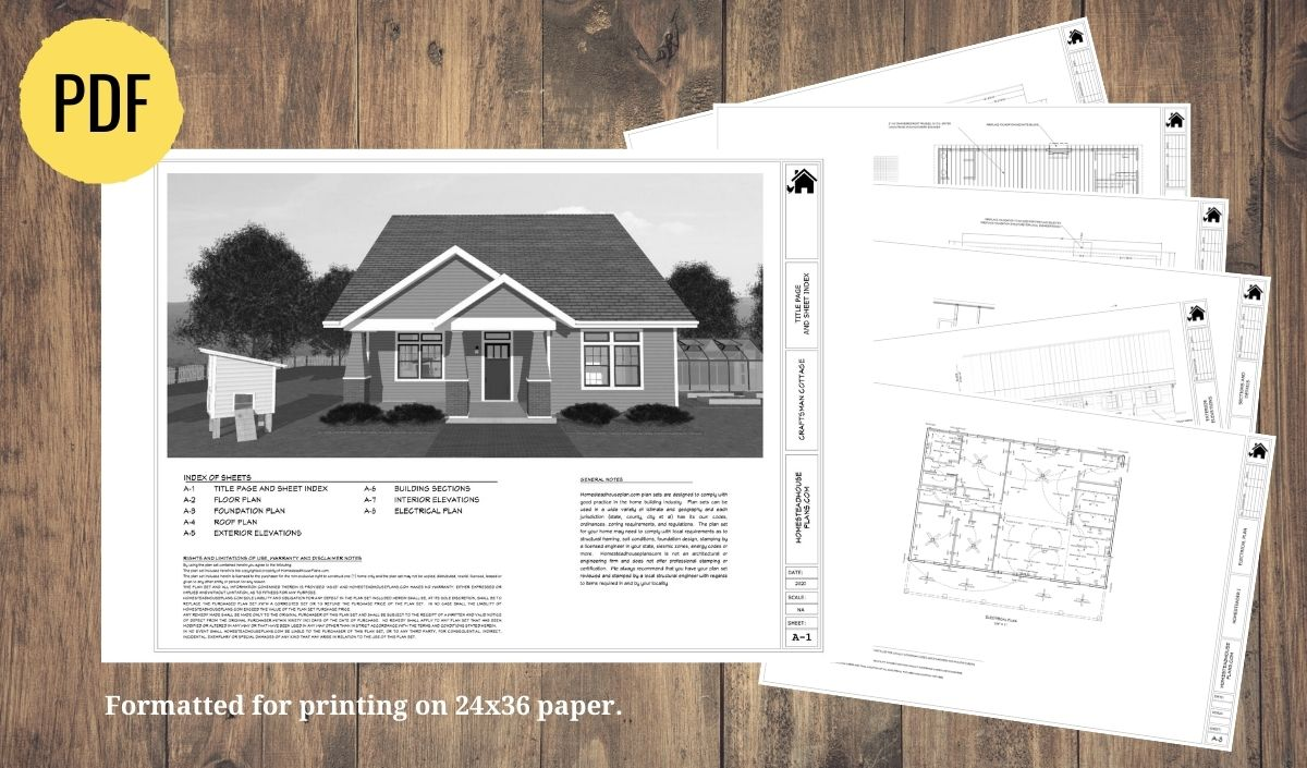 The Craftsman Cottage 2 bedroom, 2 bath, 1312 sq ft plan set preview