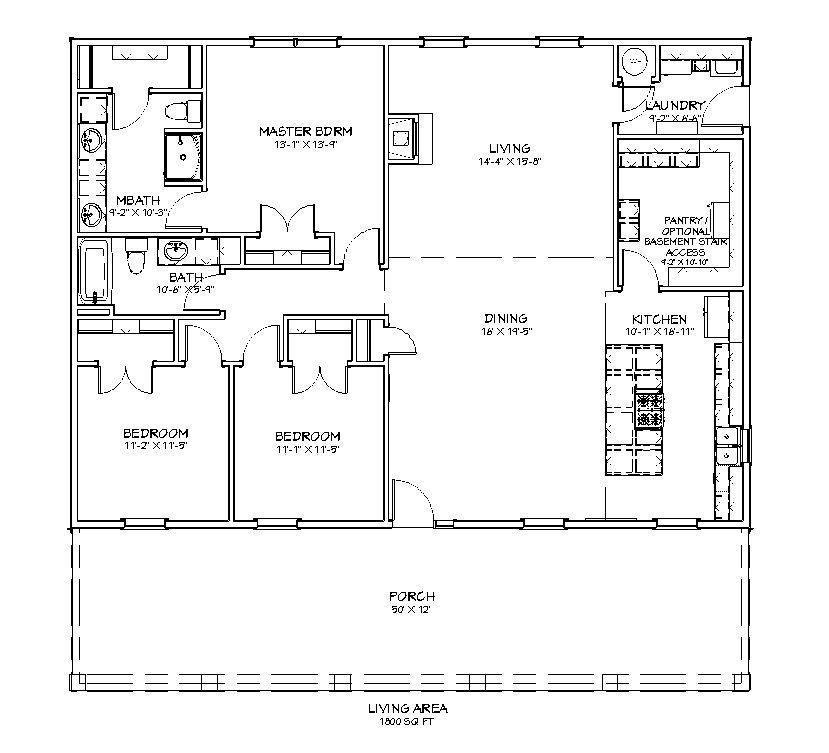 Homesteader Cottage 3 bed 2 bath 1800 sq ft floor plan
