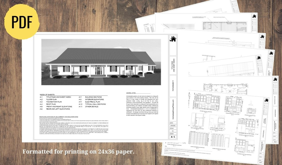 Preview of the plan set for the homesteader II house plan
