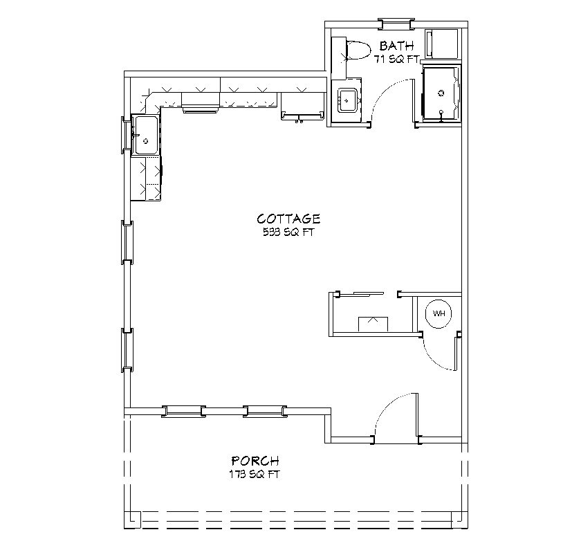 The rose cottage 604 sq ft 1 bed 1 bath floor plan