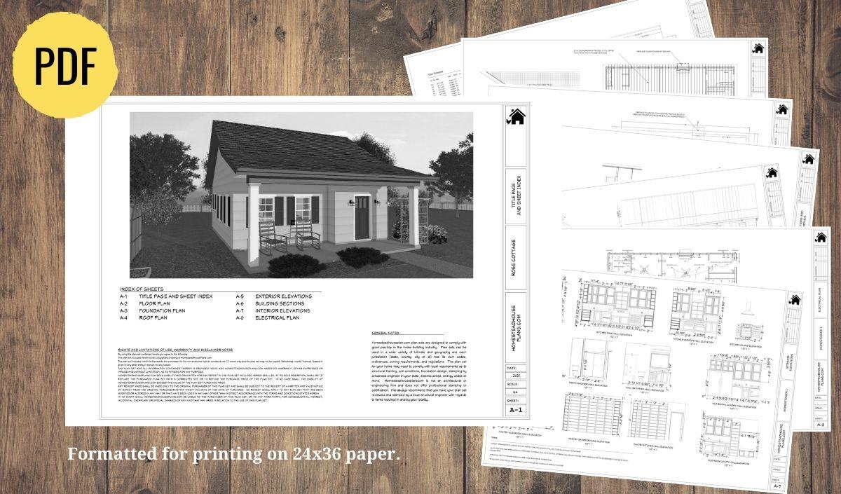 The Rose Cottage 1 bedroom, 1 bath, 604 sq ft plan set preview