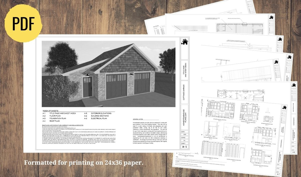 Plan set preview for the cottage garage floor plan