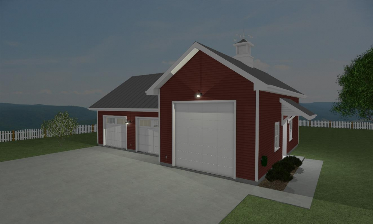 Farmstead Garage Exterior Quarter View Night