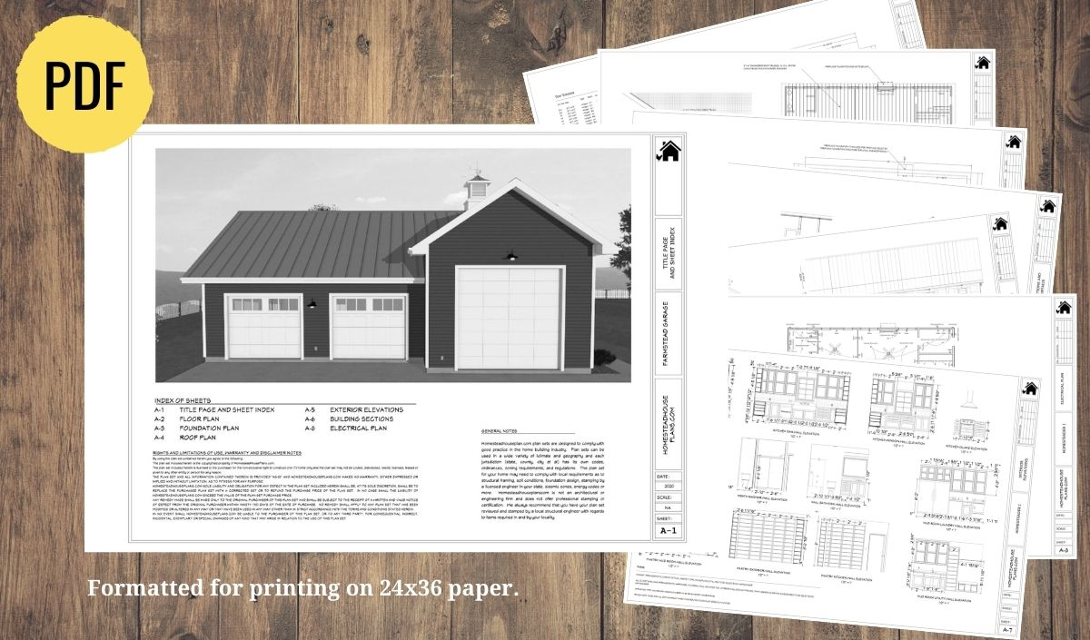 Plan set preview for the farmstead garage and barn floor plan