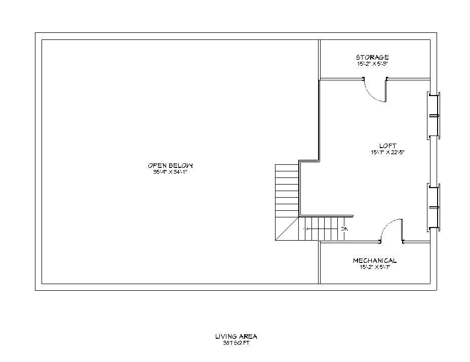 second floor floor plan for the Christmas Barn