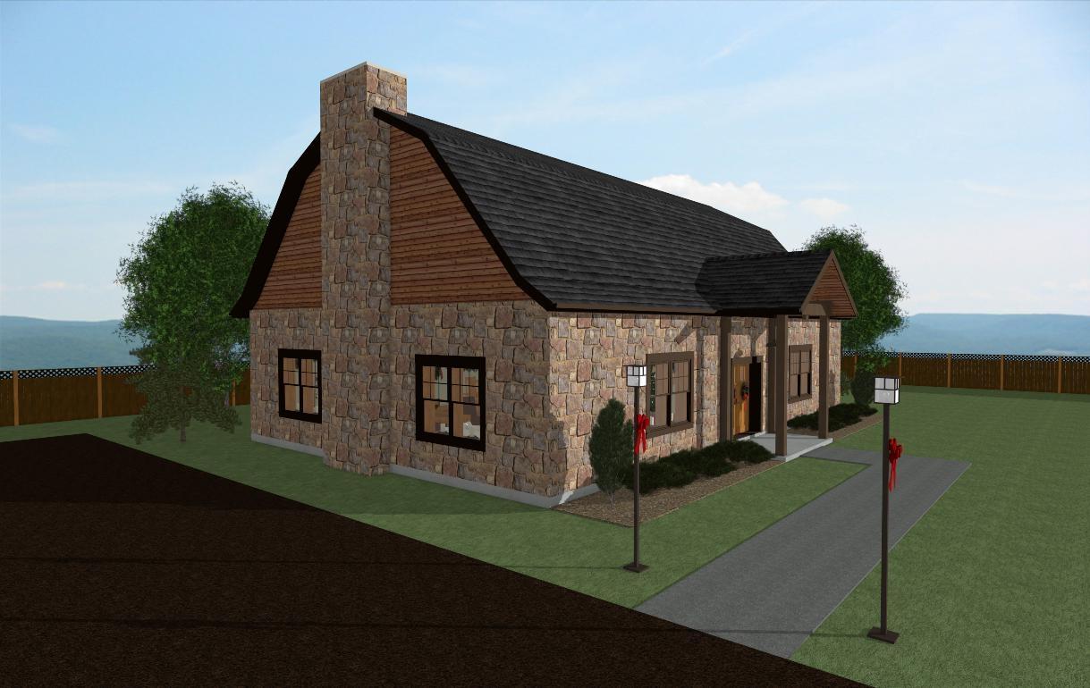 Christmas Barn Fireplace end view