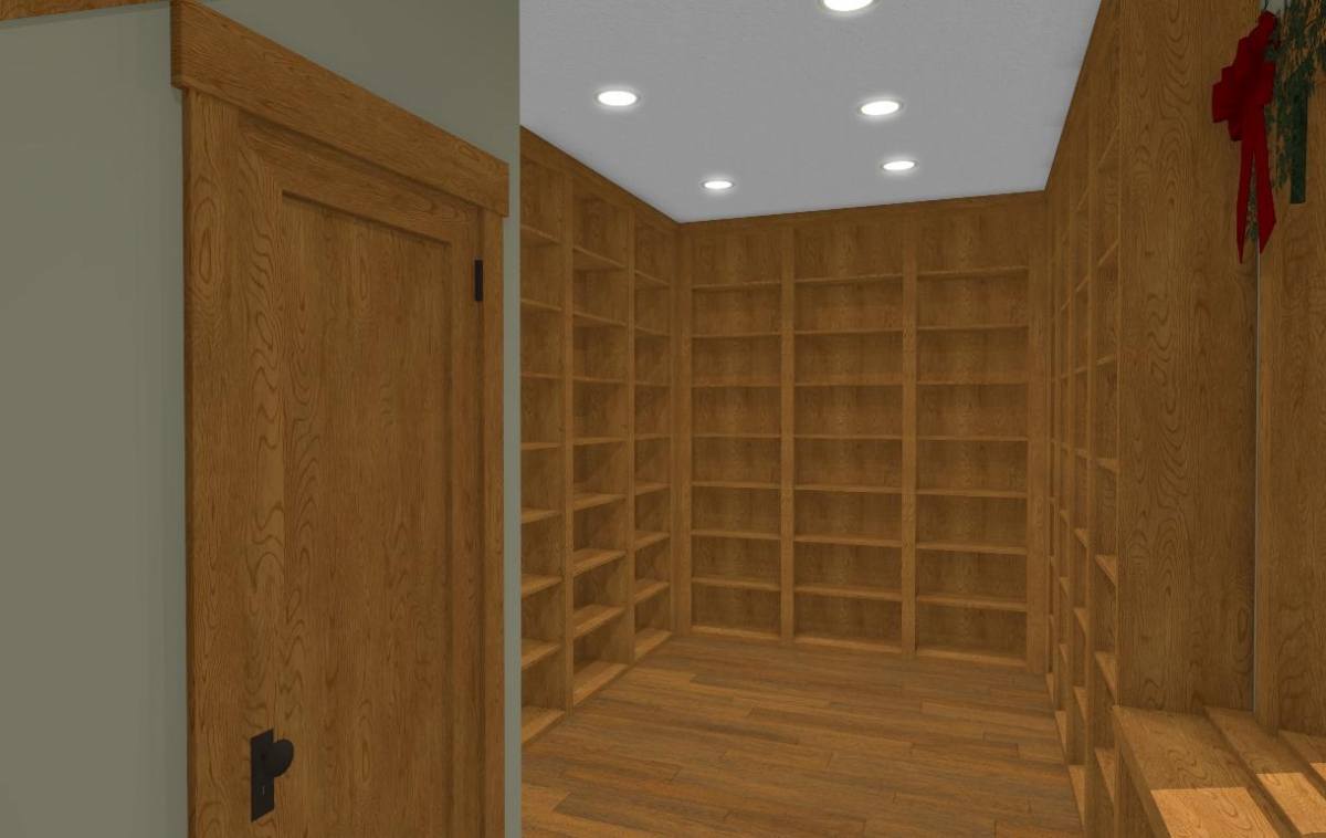 Floor to ceiling bookshelves in the Christmas Barn reading nook
