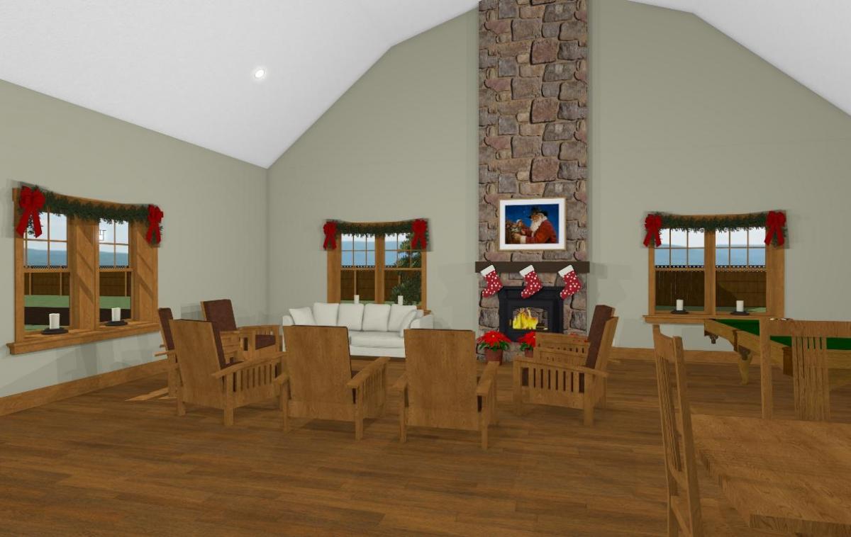 Christmas Barn Seating and Fireplace