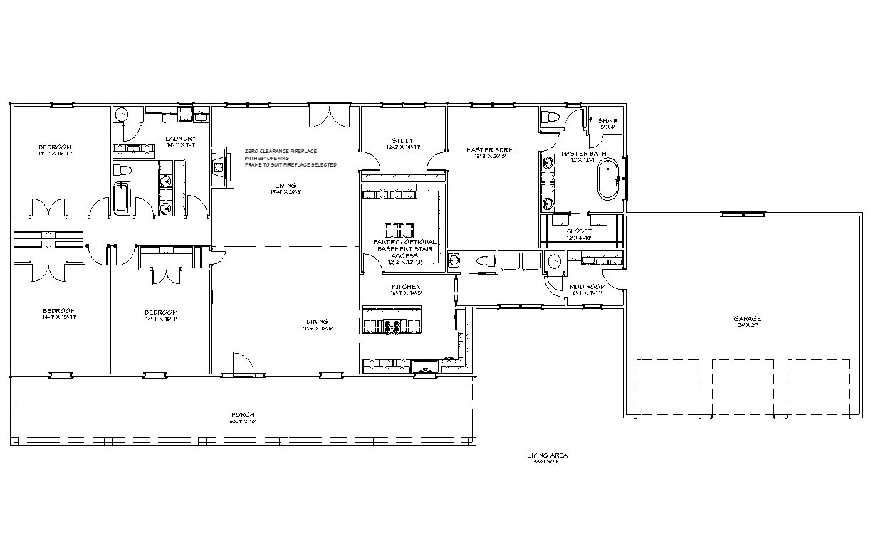 Homesteader II with Garage Floor Plan