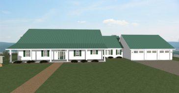 Homesteader II with garage front porch view